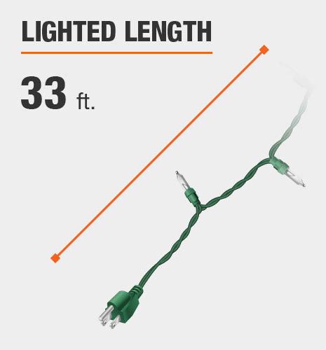 The lighted length is 33 feet