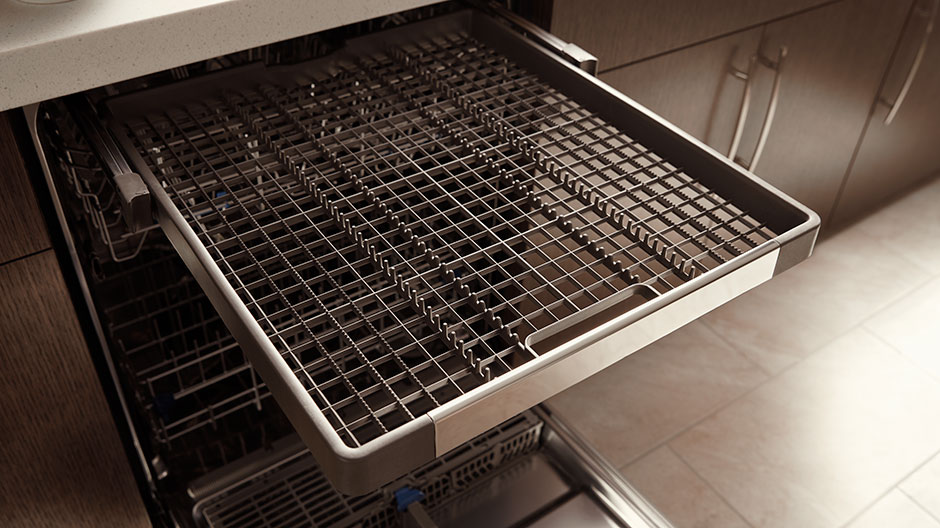 Open Dishwasher With Empty Third Level Rack Fully Extended