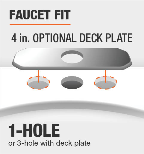 Faucet Fit 1 or 3 Hole Deck Plate Included