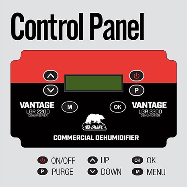 Use the digital panel to seamlessly control the operation of the B-Air® LGR-2200 Commercial Dehumidifier.