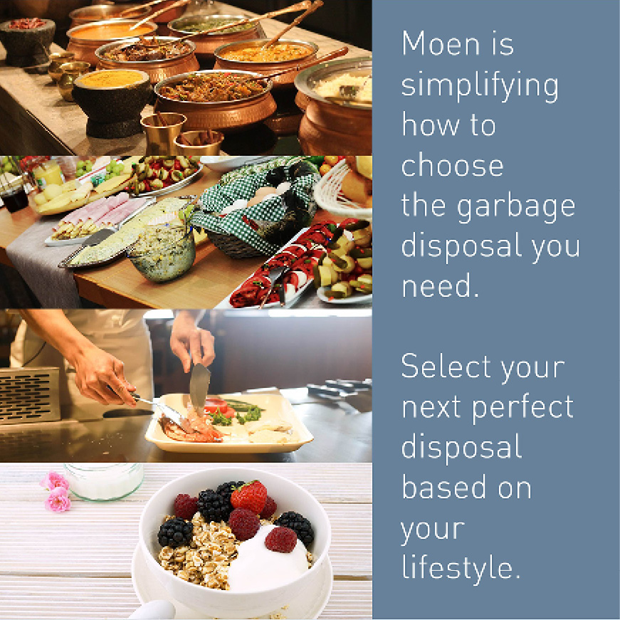 Moen has simplified how to shop for a garbage disposal with four easy-to-choose-from categories: the Chef, the Host, the Prep and the Lite