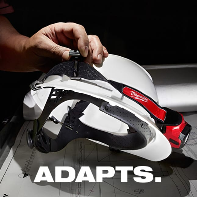 Hard hat clips and rubber grip strap for secure hard hat attachment. 7-Position tilting head.