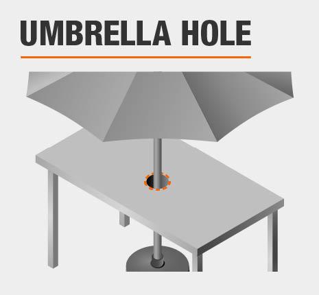 Hampton Bay Mix And Match White Round Glass Outdoor Dining Table - White outdoor dining table with umbrella hole
