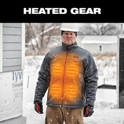 Man wearing a M12 Heated TOUGHSHELL Jacket lit up to show heated zones
