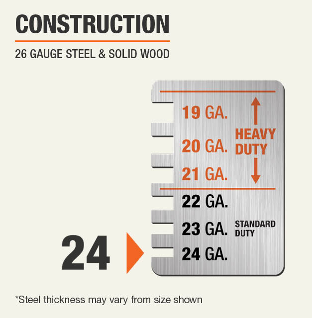 24 Gauge Steel & Solid Wood Construction