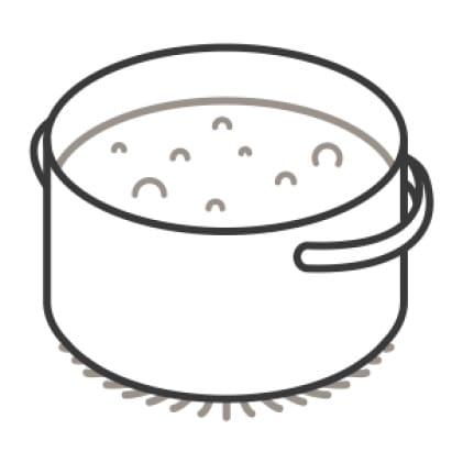 An icon of a wide pot bubbling gently over a flame.