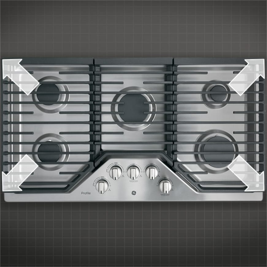 Overhead shot of cooktop with arrow graphics to emphasize edge to edge grates