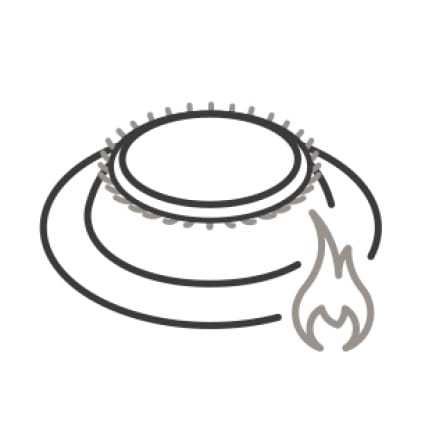An icon of the burner. Small flames flicker from it while a larger icon of a flame is superimposed in the corner.