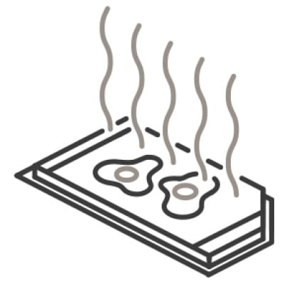 An icon of the griddle. Eggs cook on its hot surface