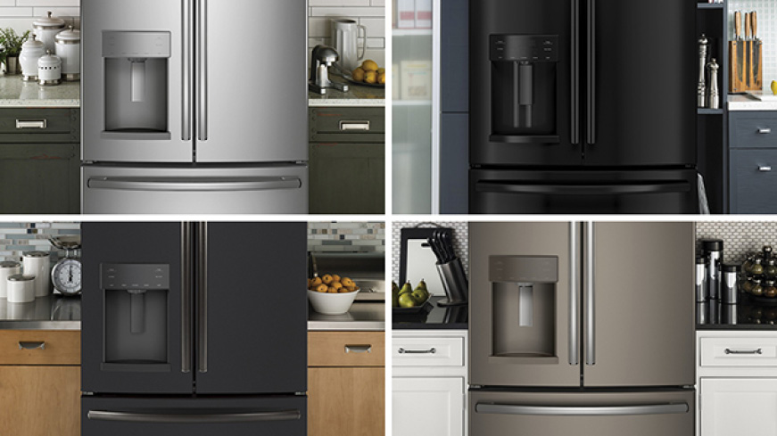 A grid compares 4 different finishes of the same refrigerator model in different kitchens. Each finish complements the cabinetry and paint around it.