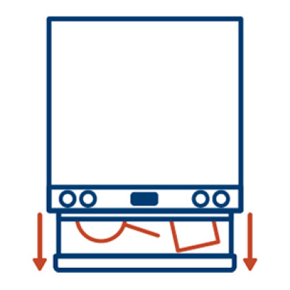 An icon shows a top view of the range. Arrows on the side indicate the drawer below the oven for storing pots and pans.