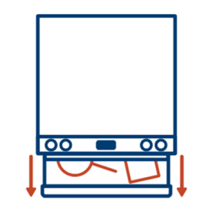 An icon of the range viewed top-down. The lower drawer is pulled out, showing space for pots, pans, and baking sheets
