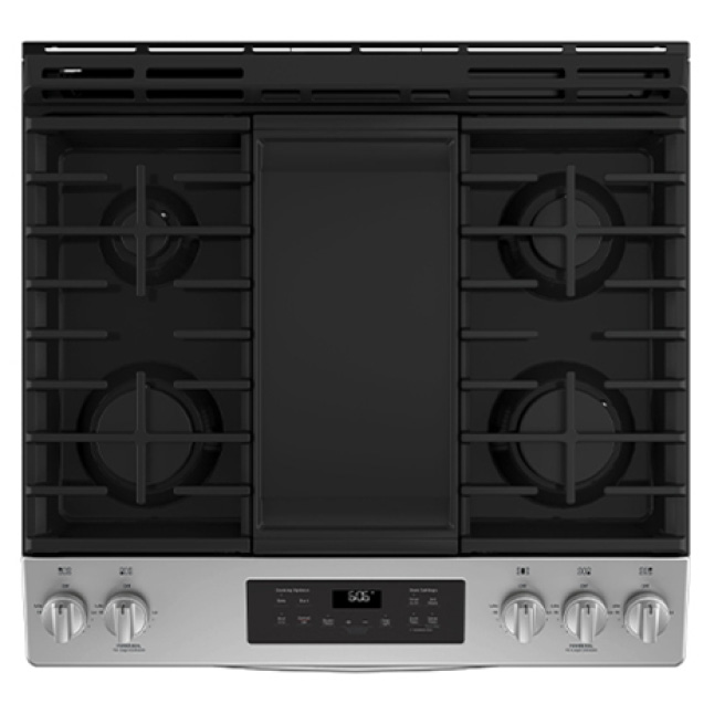 A top down view of the range shows the metal grid above the burners. Each bar is flush with one another for smooth moving cookware between burners.