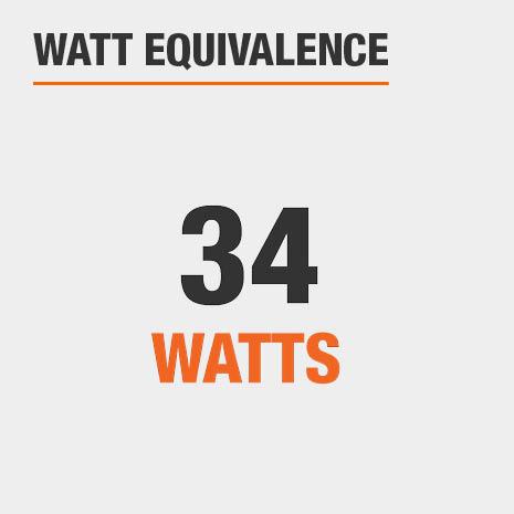 This light has a watt equivalence of 34 watts.