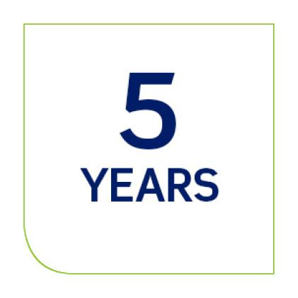 Industry leading five year limited warranty
