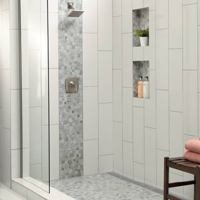 Shower with 8x24 tile and accent mosaic