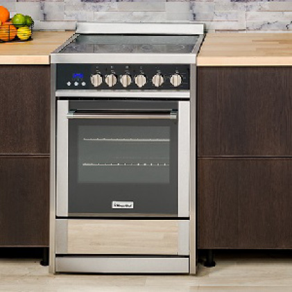 Electric range with programmable convection oven