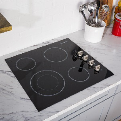 Electric cooktop fits flush against countertops