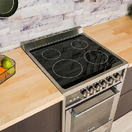 Electric range has 4 elements and smooth ceramic cooktop