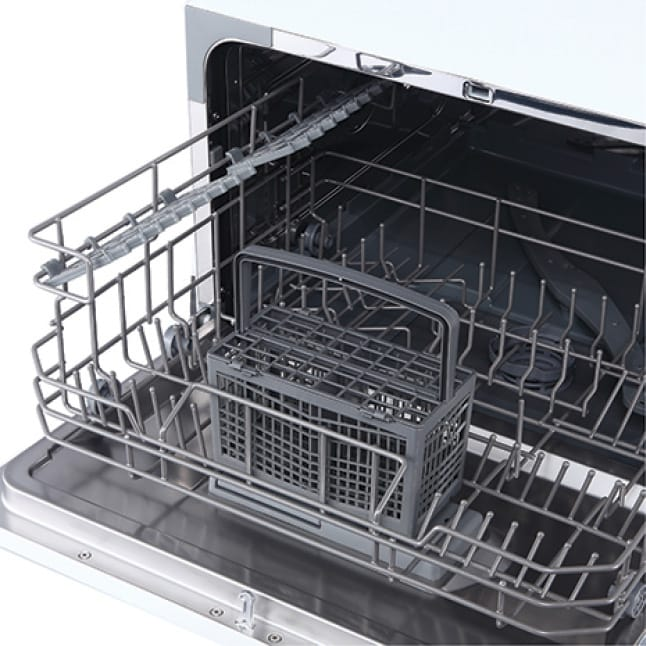 Organize your dishes with a cutlery basket and cup shelf