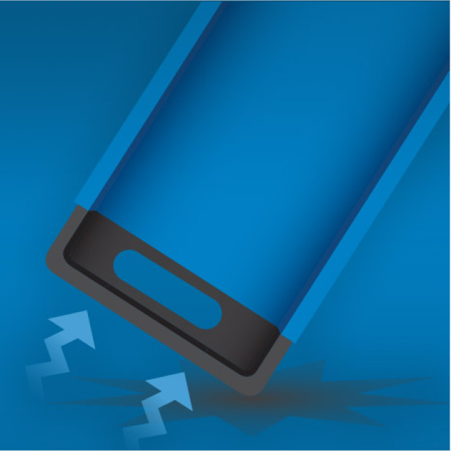 Fixed impact resistant endcaps prevent damage when dropped
