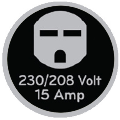 Icon of 230-volt outlet that says 230/208 volt, 15 amp