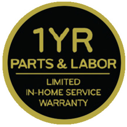 Icon saying 1 year parts and labor limited in-home service warranty