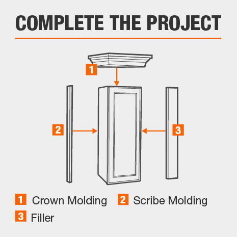 Cabinet is compatible with a crown, scribe, & filler