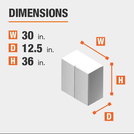 Cabinet dimensions are 36 in. H x 30 in. W