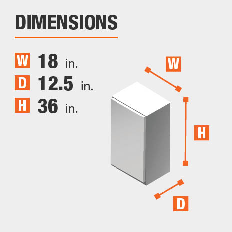 Cabinet dimensions are 36 in. H x 18 in. W