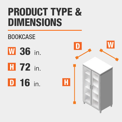 Bookcase Product Dimensions 36 inches wide 72 inches high
