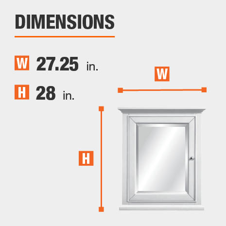 The dimensions of this bathroom vanity mirror are 27.25 in. W x 28 in. H