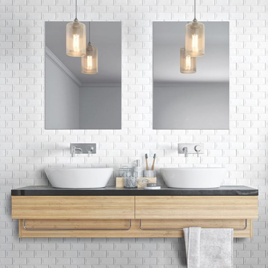 A lifestyle image showing the on-trend design with white subway mosaic on a bathroom vanity wall.
