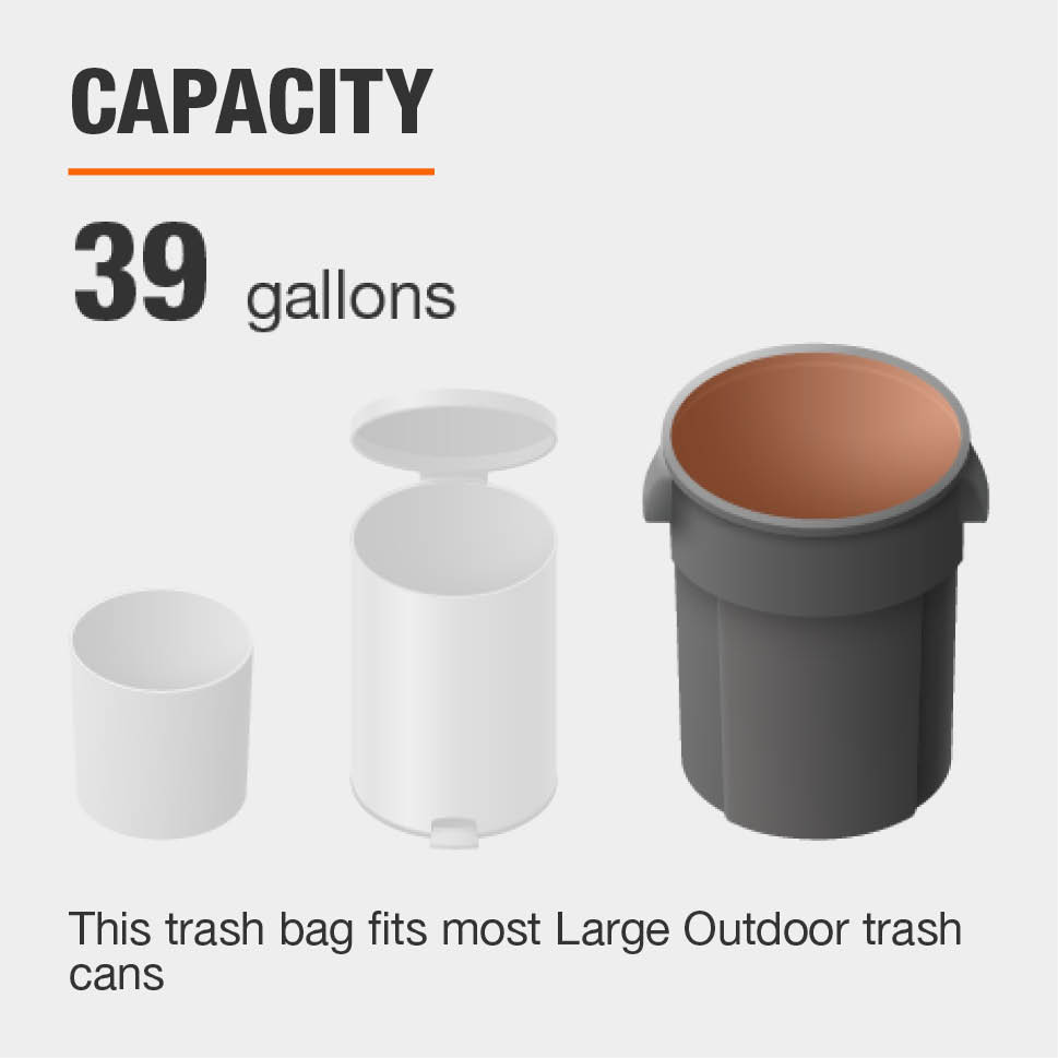 The Capacity for this Trash Bag is 39 gallons and fits most Large Outdoor trash cans