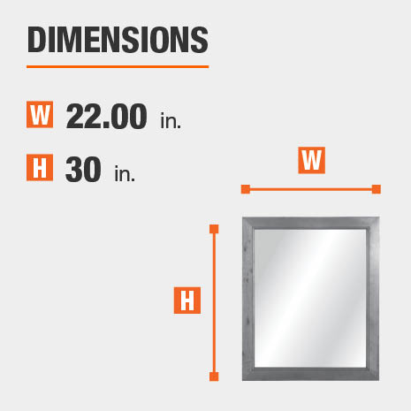 The dimensions of this bathroom vanity mirror are 22.00 in. W x 30.00 in. H