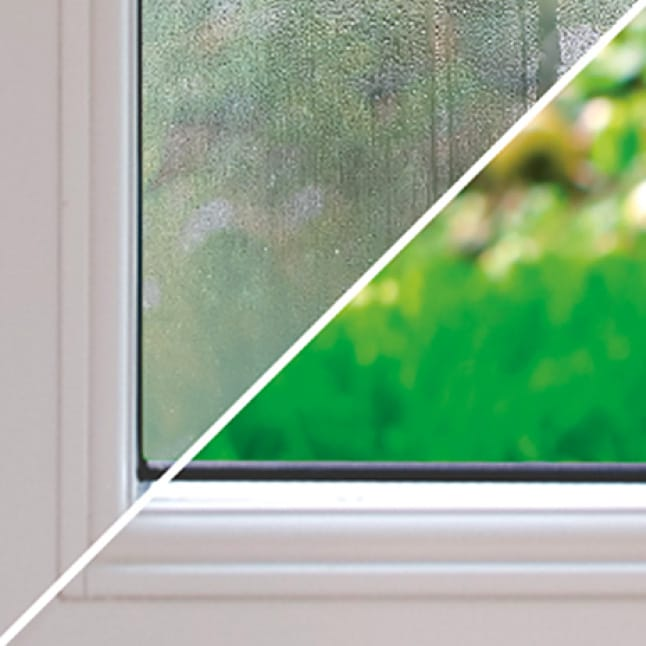 A comparison shows a window with and without the dehumidifier. Without it, the window is foggy and wet, but with it, the window is dry.