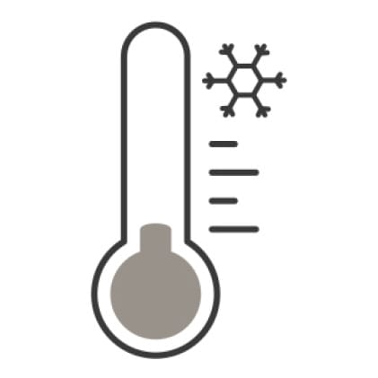 An icon of a thermometer measuring the cold air in the room.