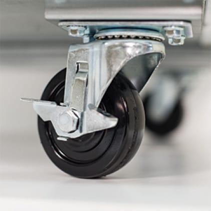 Heavy duty castor wheels or optional legs