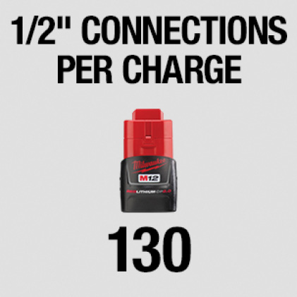 "130 1/2"" connections per charge"