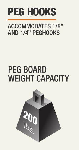 """Peg Hooks Accomodates 1/8"""" and 1/4"""" Peghooks 200 lb. weight capacity"""