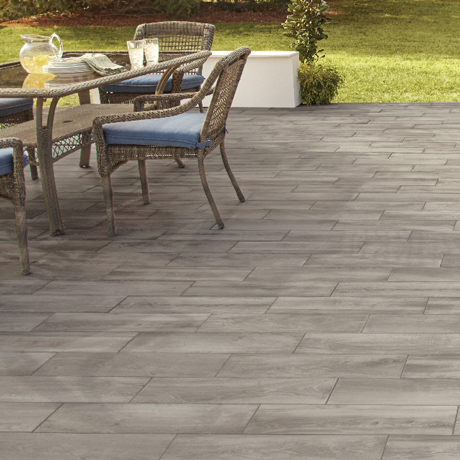 Porcelain Tile Featured In Outdoor Patio Scene