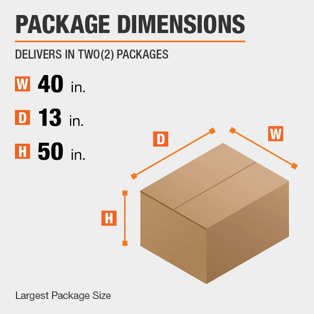 Shipment comes in two boxes. The largest package is 40 inches wide, 13 inches deep, and 50 inches high