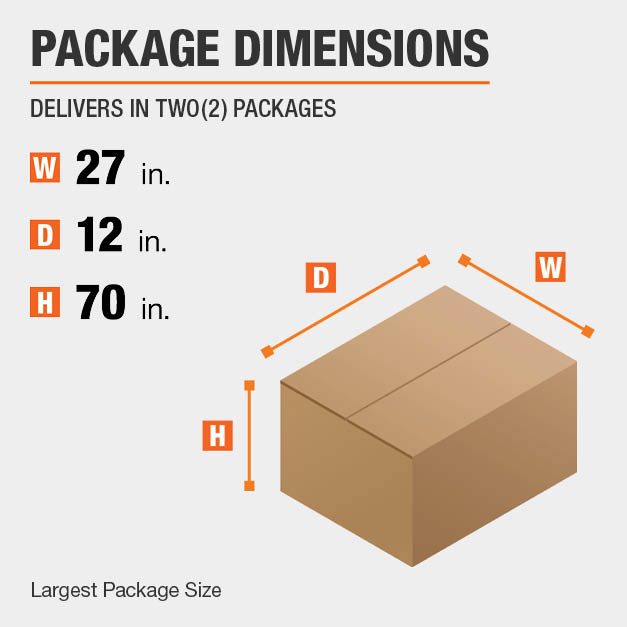 Shipment comes in two boxes. The largest package is 27 inches wide, 12 inches deep, and 70 inches high