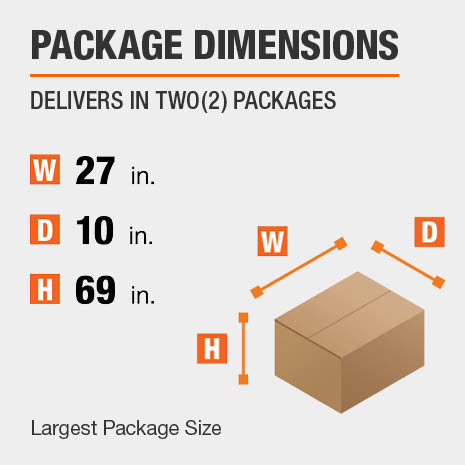 Shipment comes in two boxes. The largest package is 27 inches wide, 10 inches deep, and 69 inches high