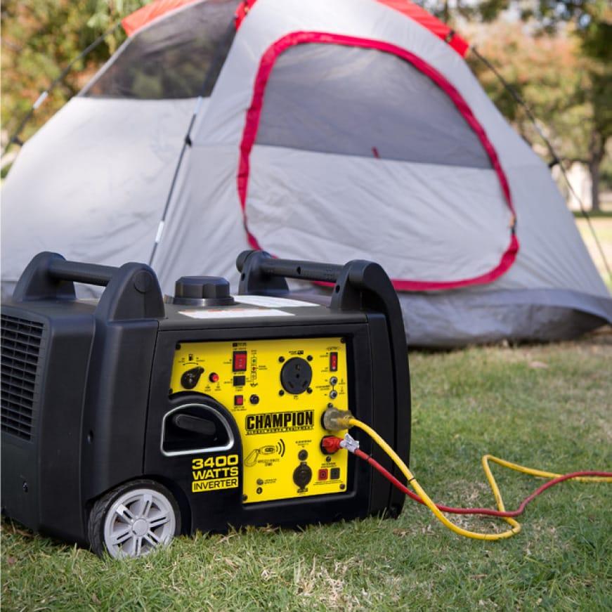 Lifestyle image of inverter generator powering a campsite