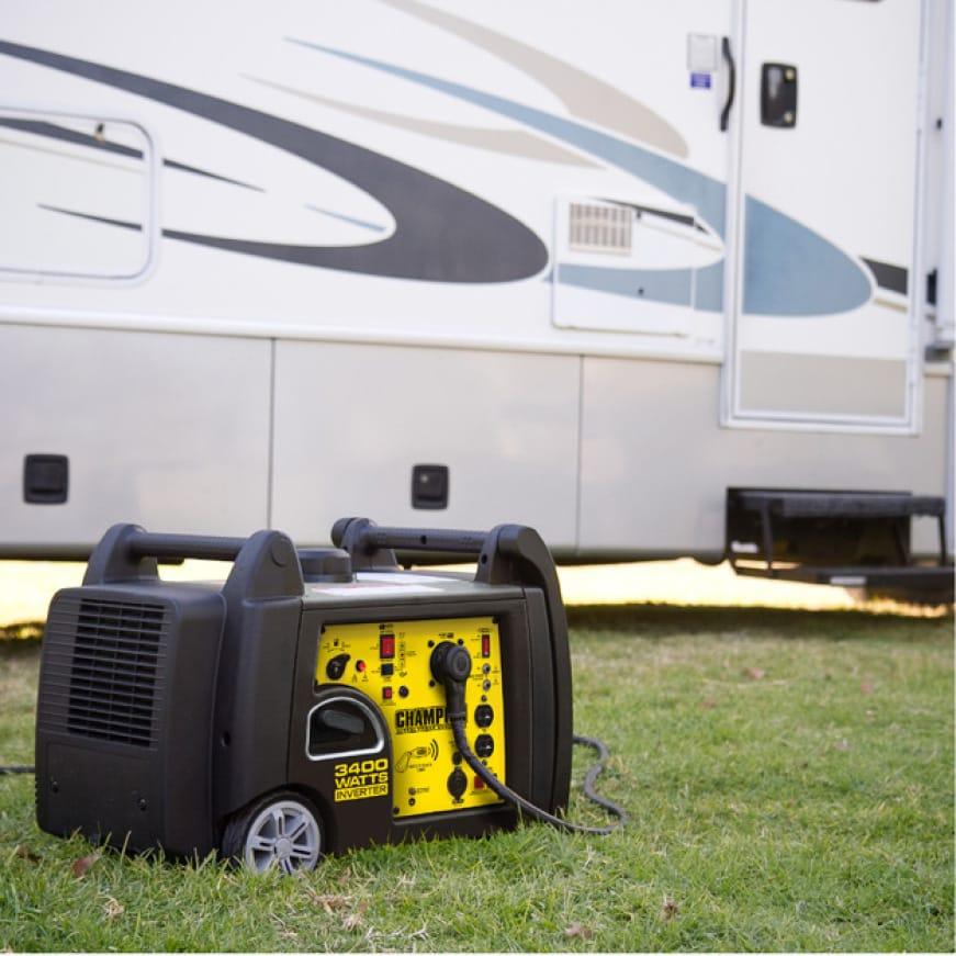 Lifestyle image of inverter generator powering an RV