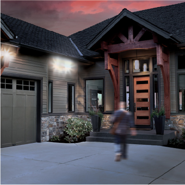 Motion sensor floodlights feature adjustable sensitivity and duration (from 1 to 12 minutes).