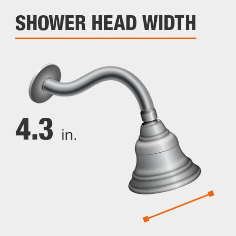 Showerhead is 4.3 Inches Wide