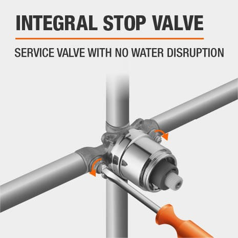 Glacier Bay Integral Stop Valve to service the valve without disrupting water usage