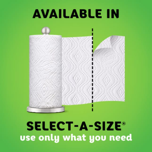 For spills big and small, waste less paper by using only what you need with Bounty Select-A-Size paper towels.